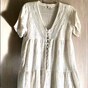 Rip Curl Mini Cotton Coverup Dress Vanilla M